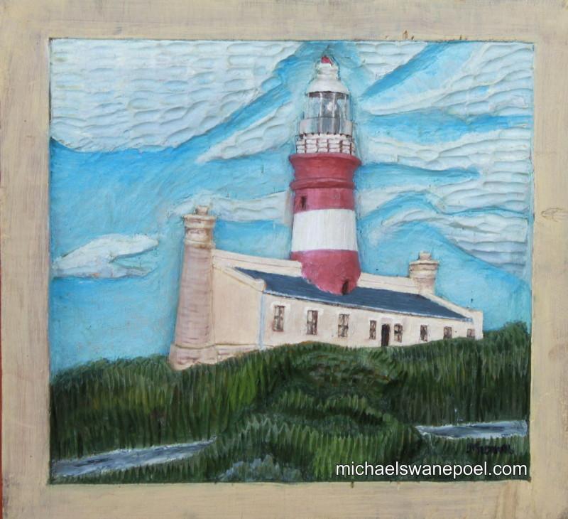17-lagulhas-lighthouse-25cm-x-23cm-x-3-5cm-relief-sculpture-jelutong-wood-artists-oils-michael-swanepoel-800x730