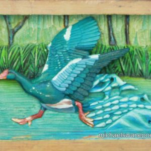 27-water-off-a-duck-24cm-x-17cm-x-3-5cm-relief-sculpture-jelutong-wood-artists-oils-michael-swanepoel-800x552