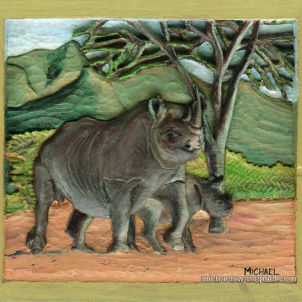 19-critically-endangered-black-rhino-28cm-x-25cm-x-3-5cm-relief-sculpture-jelutong-wood-artists-oils-michael-swanepoel-768x702