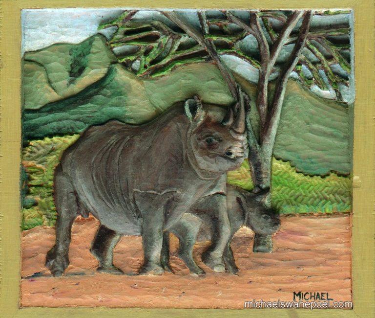 19-critically-endangered-black-rhino-28cm-x-25cm-x-3-5cm-relief-sculpture-jelutong-wood-artists-oils-michael-swanepoel-768x702