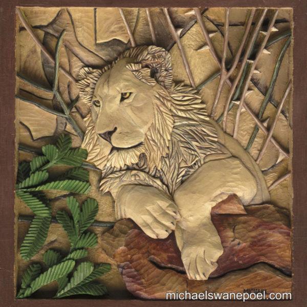 24-young-lion-39cm-x-41cm-x-3-5cm-relief-sculpture-jelutong-wood-artists-oils-michael-swanepoel-800x845