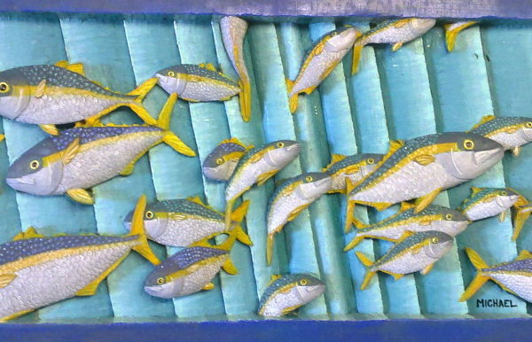 26-yellowtail-for-the-divers-57-5cm-x-28cm-x-3-5cm-relief-sculpturejelutong-wood-artists-oils-michael-swanepoel-800x386