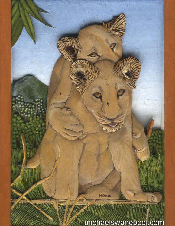 39-cubs-at-play-31cm-x-44cm-x-3-5cm-relief-sculpture-jelutong-wood-artists-oils-micael-swanepoel-579x750