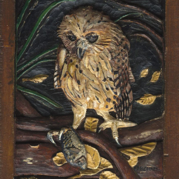 18-fishing-owl-18cm-x-22cm-x-3-5cm-relief-sculpture-jelutong-wood-artists-oils-michael-swanepoel-800x1008