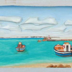 23-struisbaai-harbour-52cm-x-24cm-x-3-5cm-relief-sculpture-jelutong-wood-artists-oils-michael-swanepoel-800x370