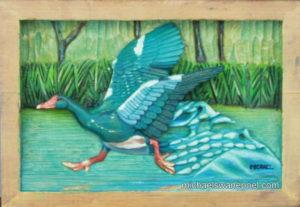 27-water-off-a-duck-24cm-x-17cm-x-3-5cm-relief-sculpture-jelutong-wood-artists-oils-michael-swanepoel-800x552